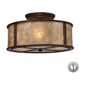 Barringer 3-Light Semi Flush, Aged Bronze And Tan Mica, Includes Adapter Kit