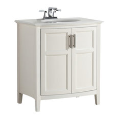 Simpli Home Ltd.   Winston Bath Vanity Rounded Front With White Quartz  Marble Top,