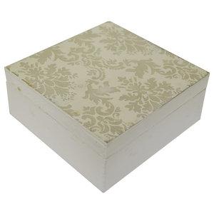 Damask Lidded Square Display/Jewellery Box, White/Grey