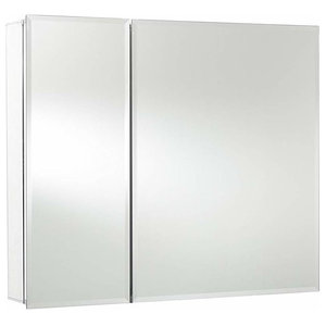 Wall Mounted Storage Cabinet, Aluminium With Double Side Mirrored Doors