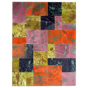 Patchwork Leather Cowhide AC1 Rug, Acid Colours, 140x200 Cm