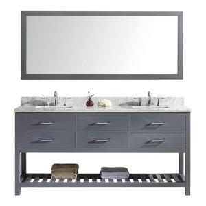 "Virtu Caroline Estate 72"" Double Square Sink Gray Top Vanity, Gray With Mirror"