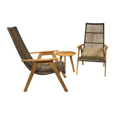 Idra 3-Piece Teak and Wicker Lounge Chair Set