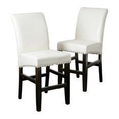 GDF Studio Clifton Leather Counter Stools, Ivory, Set of 2
