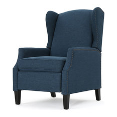mid century recliner. GDFStudio - Weyland Wingback Traditional Fabric Recliner, Navy Blue Recliner Chairs Mid Century D