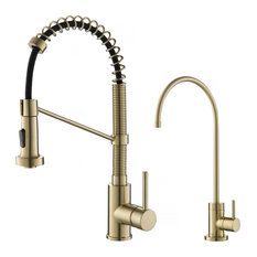 Purita Water Dispenser with Bolden Pulldown Kitchen Faucet, Brushed Gold