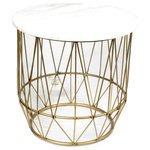 Sagebrook Home - Side Table, Metal and Faux Marble, White - Sagebrook Home has been formed from a love of design, a commitment to service and a dedication to quality. We create and import fashion forward items in the most popular design styles.