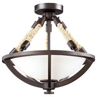 Natural Rope 2 Light Semi-Flush Mount in Aged Bronze