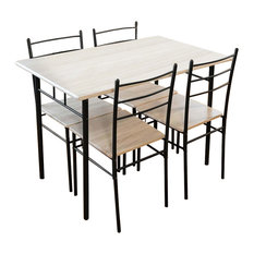Modern Dinner Table and Chairs, Solid Wood, Steel Frame, Charcoal, 5-Piece Set