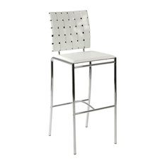 euro style woven bar stools white leather and chrome set of 2