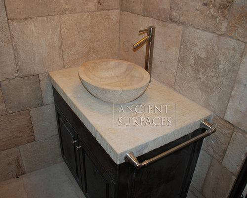 Mediterranean Bathroom Sinks: Bathroom Stone Floor Tiles (Mediterranean Style