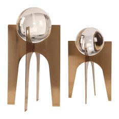 MidCentury Modern Crystal Ball Sculpture Set