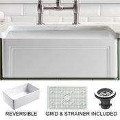 "Olde London Reversible Farmhouse Single Bowl Kitchen Sink, Grid, Strainer, 30"""
