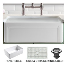 Olde London Reversible Farmhouse Single Bowl Kitchen Sink, Grid, Strainer, 30""