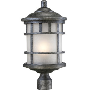 Nuvo 1-Light Incandescent Manor Outdoor Light Fixture, Aged Silver