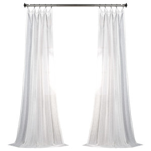 Bordeaux Striped Faux Linen Sheer Curtain Single Panel ...  sc 1 st  Houzz : canopy faux silk curtains - afamca.org