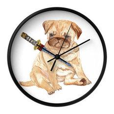 Inky Cat Studio Ninja Pug Wall Clock
