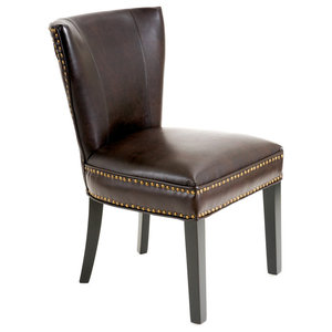 George Contemporary Bonded Leather Dining Chair with Nailhead Accents