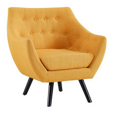 Allegory Upholstered Fabric Armchair, Mustard