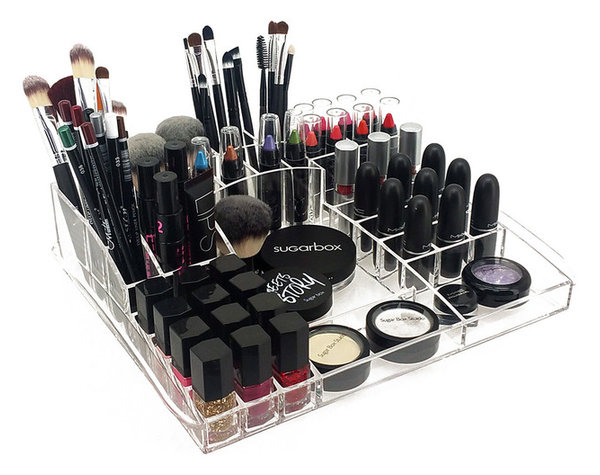 Deluxe Makeup Organizer Acrylic Table Top Tray For Cosmetics and