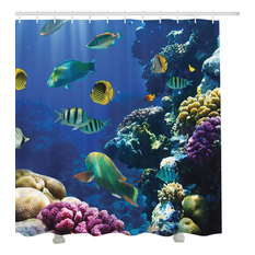 under water tropical coral reef fish fabric shower curtain shower curtains