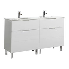"Aquamoon Livenza Double 59 3/4"" Modern Bathroom Vanity Set, White"