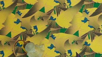 Papier peint Hirunda jaune par Atelier Virgül