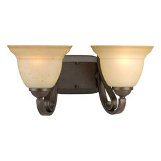 2-Light Bath, Forged Bronze/Tea-Stained Glass