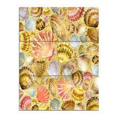"""Seashell and Sea Sand"" Sea and Shore Canvas Print, 3 Panels, 28""x36"""
