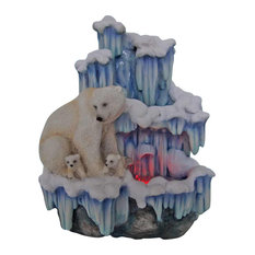 Mother Polar Bear with Her Cubs on Iceberg Tabletop Water Fountain