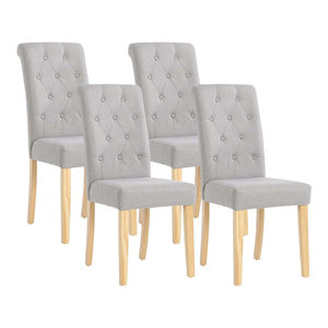 Set of 4 Chairs Upholstered, Light Grey Linen Fabric With Buttoned Tufted Back