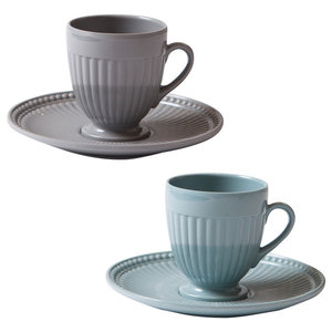 Indestructible Coffee Cups, Grey and Blue, Set of 6