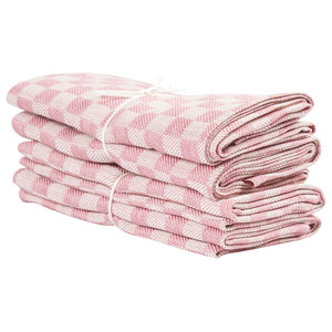 Axlings Chess Linen And Cotton Kitchen Towel, 2 Pack, Pink and White
