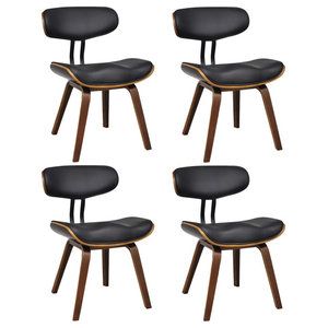 vidaXL Bentwood and Faux Leather Dining Chairs With Backrest, Set of 4