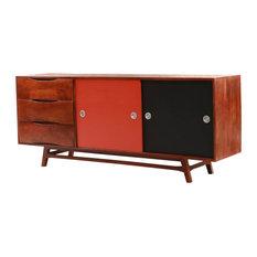 Baytwon Solid Wood 3 Drawer Mid-Century Modern Large Sideboard Cabinet