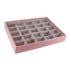 Plateau à bijoux rose intérieur gris avec 25 compartiments , Boîte