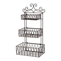 Vintage Wrought Iron Wall Shelf Houzz - Wrought iron bathroom wall shelves