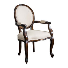 GDFStudio   Sheridan Solid Beige Fabric Dark Wood Armchair   Dining Chairs