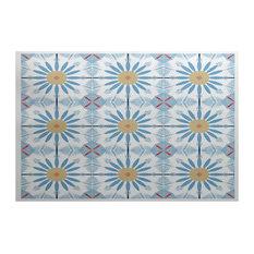 Light Blue Chaney, Geometric Print Indoor Outdoor Rug, 3'x5'