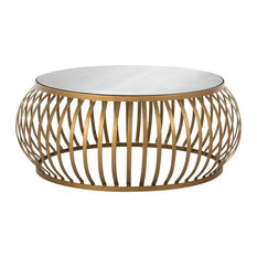 Gold Strip Coffee Table With Mirrored Top