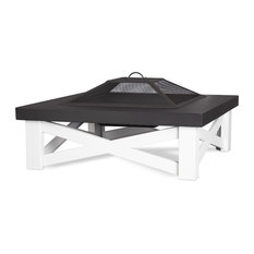 Austin Wood-Burning Fire Table In White With Black Top  By Real Flame
