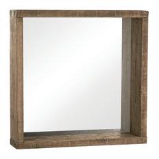 Mediterranean Square Wall Mirror, Natural Wood, 90x90 cm