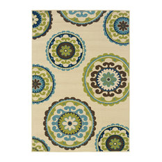 """Coronado Indoor and Outdoor Medallion Ivory and Green Rug, 7'10""""x10'10"""""""