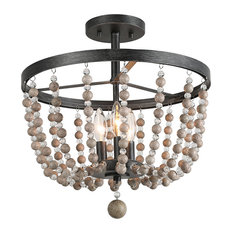 LNC 3-light Flush Mounts Ceiling Lights Distressed Wood Beads Black Finish Light