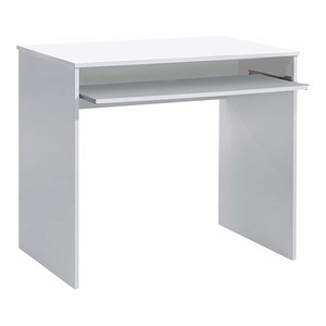 Modern Stylish Desk, White Finished Melamine Wood With Sliding Keyboard Tray