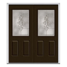 "Heirloom Master 1/2 Lite 2-Panel Fiberglass Double Door 66""x81.75"" RH In-Swing"
