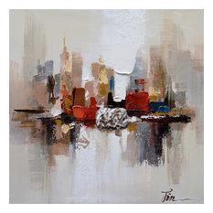 City Ruins II- Abstract Hand Painted Canvas Art, Modern Wall Decor Artwork