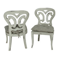 Guildmaster 690506P Artifacts Side Chairs, White, Set of 2