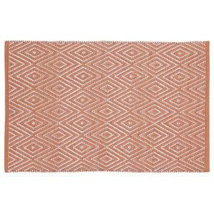 Handwoven Coral Diamonds Cotton Rug, 60x90 Cm