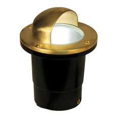 """12V Composite Ground Well Light With """"Eyebrow"""" Cover, Raw Brass"""